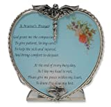 #10: Nurse's Prayer Candle Holder Pewter Heart Shape with Touching Saying - Metal & Glass - 4 Inch