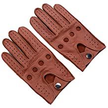 Ambesi Men's Open Back Deerskin Leather Driving Gloves