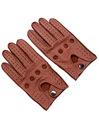 Ambesi Men's Open Back Deerskin Leather Driving Gloves Brown S