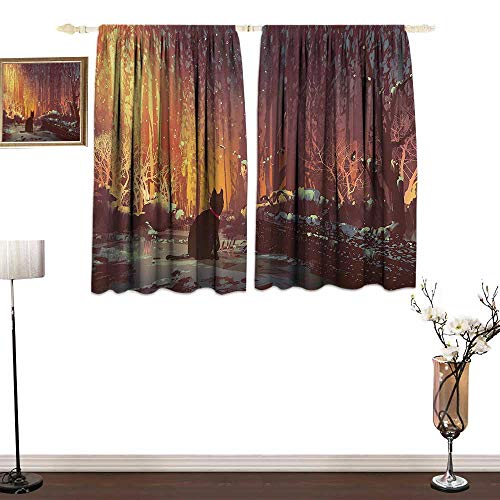 - W Machine Sky Fantasy Art DecorCustom curtainSurreal Lost Black Cat Deep Dark in Forest with Mystic Lights PicturePrinting Insulation W72 xL72 Orange Brown