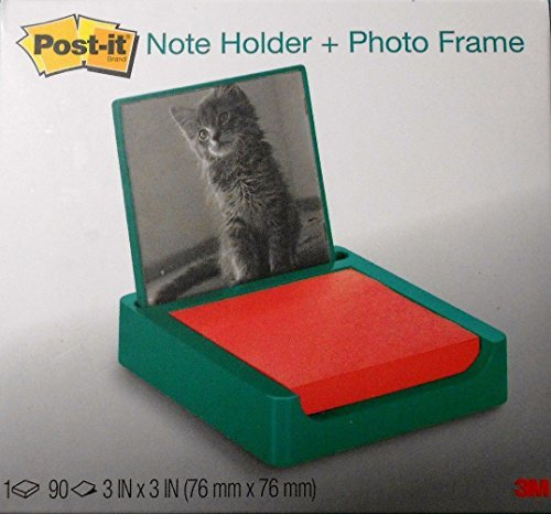 Post-it 3 x 3 Inches Note Holder with Photo Frame, Emerald Green