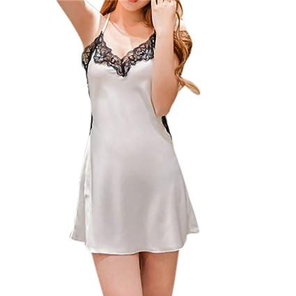 35cd1d194a7 Amazon.com   Fullfun Ladies Sexy Silk Satin Night Dress Sleeveless Nighties  V-Neck Nightgown Nightdress Lace Sleepwear Nightwear for Women (S
