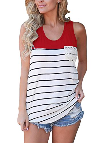 FARYSAYS Womens Casual Color Block Striped Racerback Cami Tank Tops, Burgundy, (US (Racerback Tunic Top)
