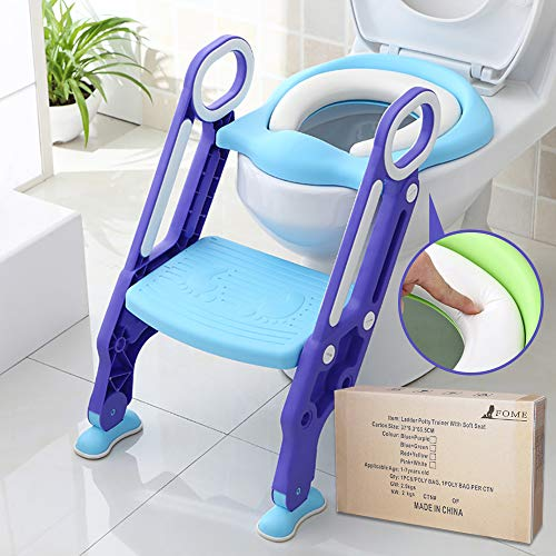 - Potty Training Seat for Kids, ITOY&IGAME Toilet Seat for Potty Training Step Trainer Ladder Toilet Training Potty Seat Sturdy Comfortable Built In Non-Slip Steps soft Pad for Baby Boys Girls