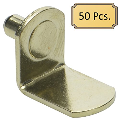 """5mm (50 Pack) Bracket Style Cabinet Shelf Support Pegs -""""L"""" Clips for Kitchen & Bookcase - Polished Brass"""