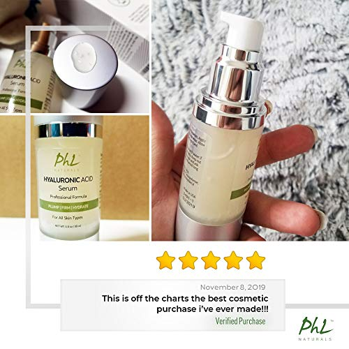 Hyaluronic Acid Serum for Face – with Vitamin C and E, Anti-Aging Line Correcting Serum – Boosts Hydration, Plumps Skin…