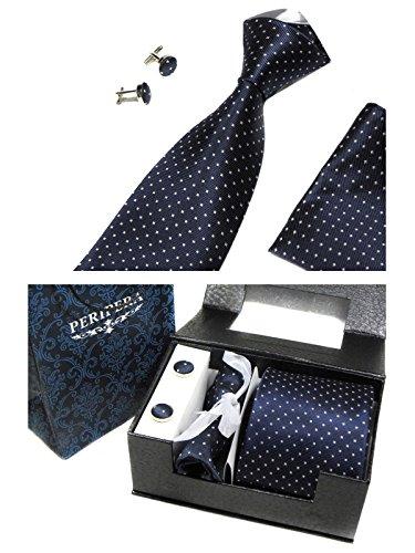 HNB Men Necktie Set in Match Gift Box with Cufflinks Handkerchief & Tie Clip Multi-color