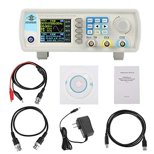 Akozon JDS6600 DDS Signal Generator Counter,15MHz 30MHz 40MHz 50MHz 60MHz High Precision Dual-Channel Arbitrary Waveform Function Generator Frequency Meter 266MSa/s(15MHz US Plug)