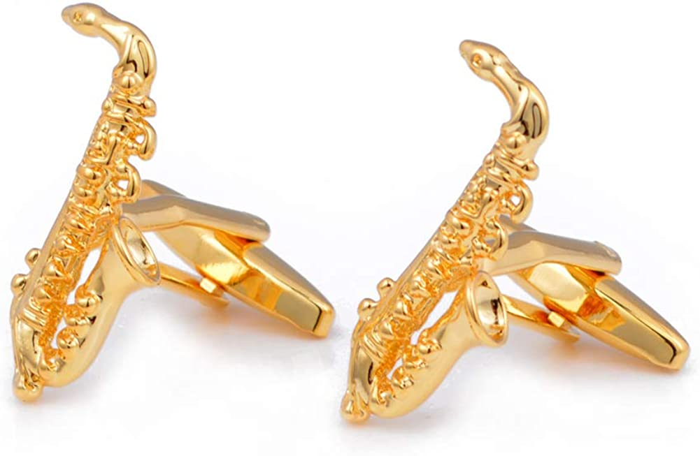 Gold Saxophone Sax Music Pair Cufflinks
