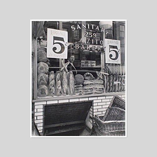 2020ArtSolutions - Bread Store, 229 Bleecker Street by Berenice Abbott, small artblock with white - Street Bleecker Stores