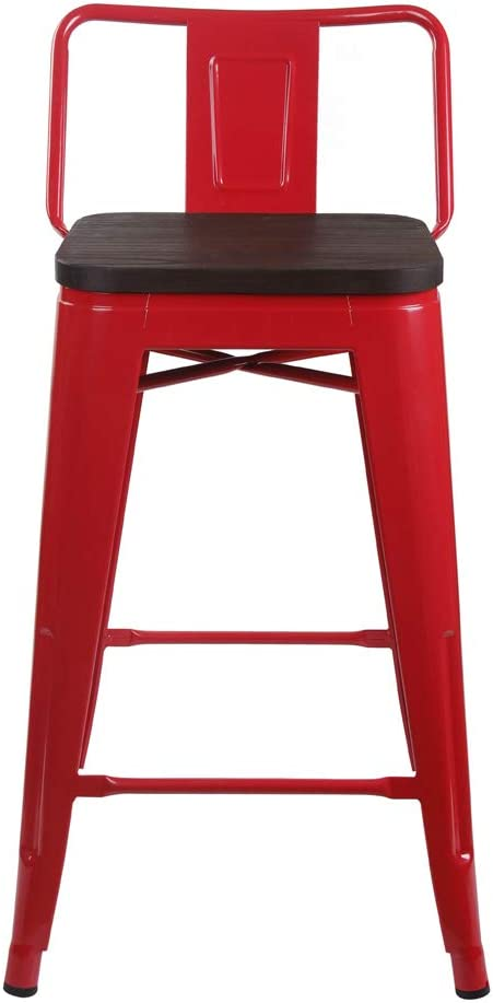 GIA 24-Inch Low-Back All items in the store Counter Height Low price Stool Dark 1-Pack Wood Red