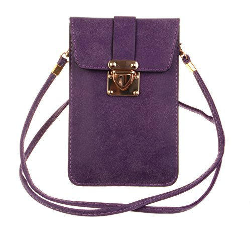 KISS GOLD (TM) Luxury Matte PU Leather Mini Crossbody Single Shoulder Bag Cellphone Pouch (Model A-Purple) ()
