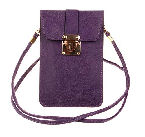KISS GOLD (TM) Luxury Matte PU Leather Mini Crossbody Single Shoulder Bag Cellphone Pouch (Model - Bag Purple Body Cross
