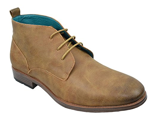 Mens Shoes Dress Semi Formal Lace Up Casual Half Boots Oxfords High Top ARIDER ANDREW-01 Camel m55i4