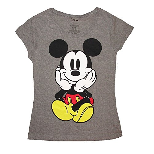 Disney Mickey Mouse Sitting Heather Gray Juniors T-Shirt (Small (3/5))