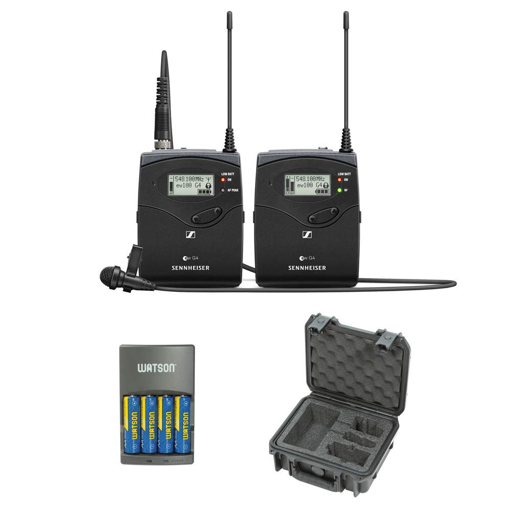 Sennheiser ew 112P G4 Camera-Mount Wireless Microphone System with ME 2-II Lavalier Mic A1: (470 to 516 MHz), iSeries System Case & AA Rapid Charger Bundle by Sennheiser