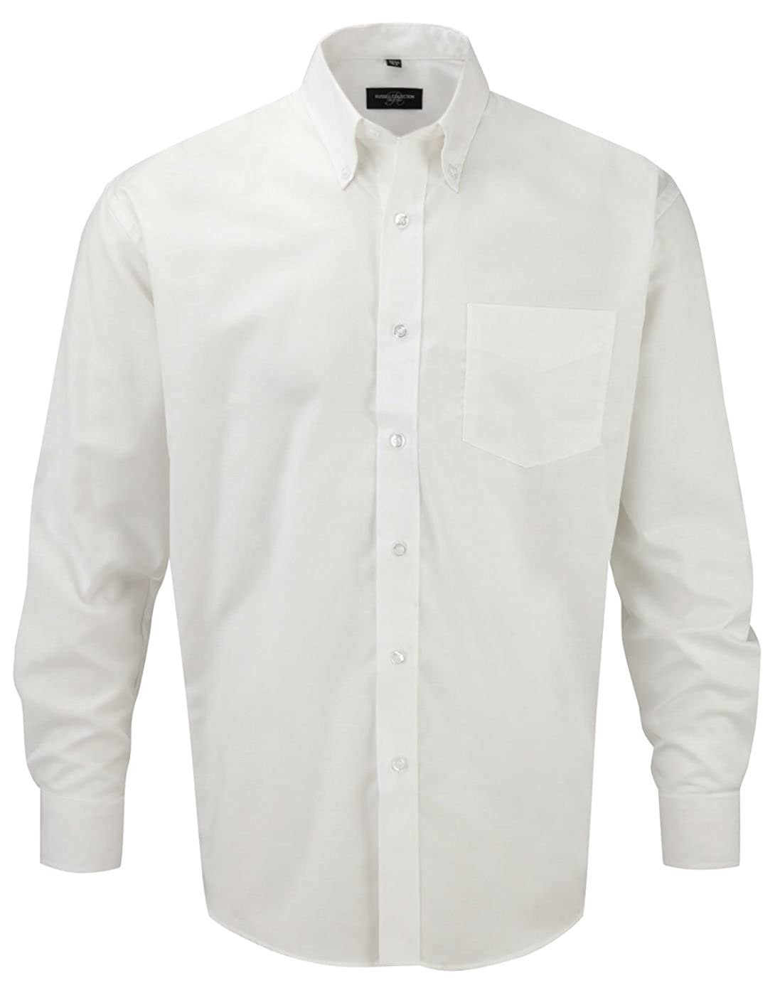 TALLA 4XL. Russell Collection Hombre Camisa De Manga Larga, fácil