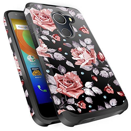 T-Mobile REVVL Case, Alcatel A30 Plus Case, Alcatel A30 Fierce Case, Alcatel Walter Case, Miss Arts Slim Anti-Scratch Kit with [Drop Protection] Dual layer Cover Case -Rose Gold Flower/Black