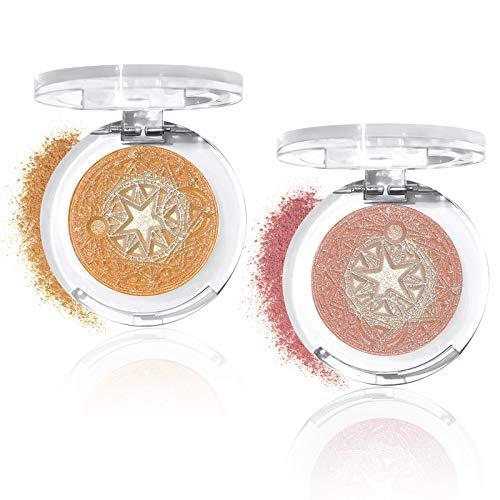 CHEERFLOR Highlighter Palette,2 Pack Highlighting Powder Makeup Highlighter Balm,Face Contour Powder Waterproof Long…