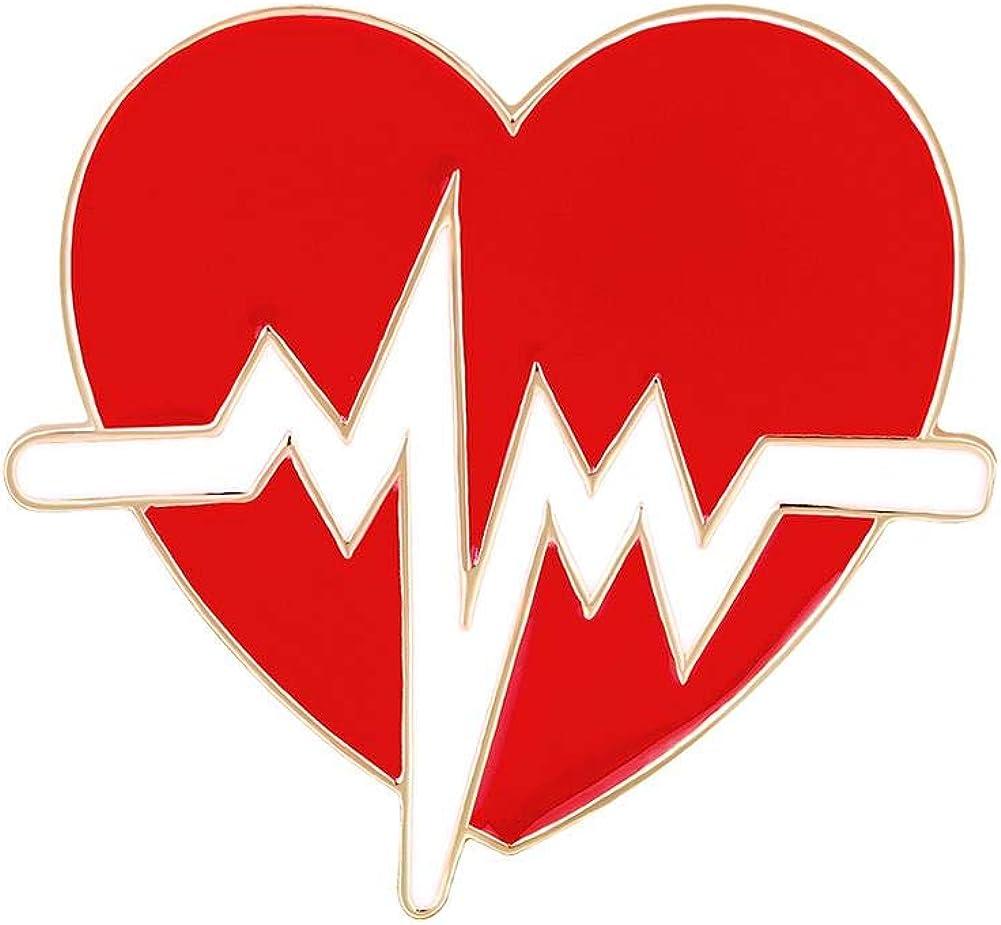Spilla creativa per infermiera a forma di cuore ECG MSYOU accessorio per decorazione
