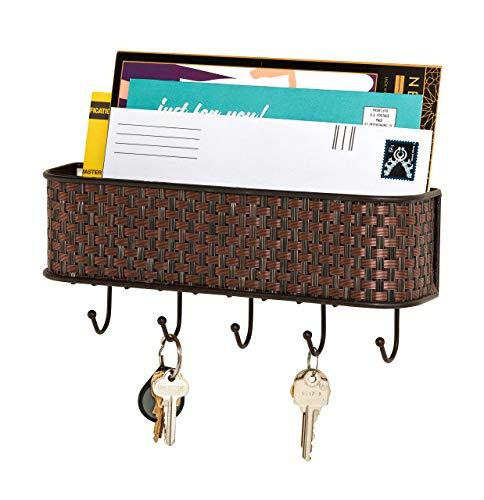 Home Basics Wall Mount Mail Letter Organizer Basket Shelf and 5 Key Hook/Holder in Brown Weave (Letter Holder Hooks)