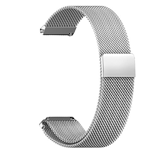 XIHAMA 14mm Universal Watch Band, Mesh Stainless Steel Quick Release Bracelet Adjustable Replacement Smart Watch Strap for Asus Zenwatch 3, Pebble Time Round (Silver, 14mm)