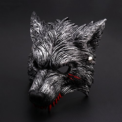 [Halloween Werewolf Mask with Blood Stains for Party Costume Cosplay – Dark Gray] (Half Masks Halloween)