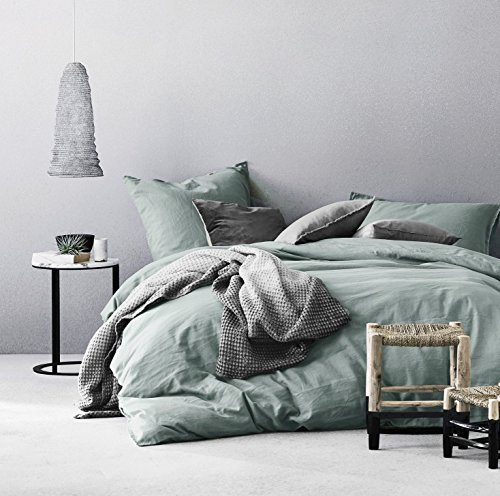 Eikei Washed Cotton Chambray Duvet Cover Solid Color Casual Modern Style Bedding Set Relaxed Soft Feel Natural Wrinkled Look (Queen, Eucalyptus Mint)