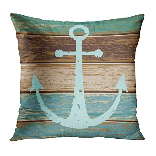 Emvency Throw Pillow Cover Turquoise Nautical Anchor Weathered