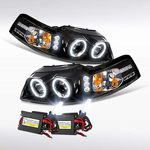 Autozensation For Mustang Black LED Dual Halo Projector Headlights+6000K HID Bulbs Kit