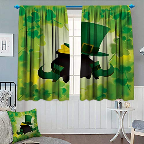 St. Patricks Day Thermal Insulating Blackout Curtain Leprechaun Hat and Shoes Costume with Pot of Gold with Shamrock Leaves Patterned Drape for Glass Door 63
