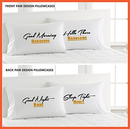 Good Morning Gorgeous/Hello There Handsome/Good Night Babe/Sleep Tight Honey Pillowcases-Front & Back (Tights Babe)