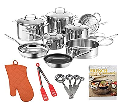 Cuisinart W99I-13 13Pc Classic Induction Stainless Steel Cookware Set + Cookbook, Measuring Spoons and More