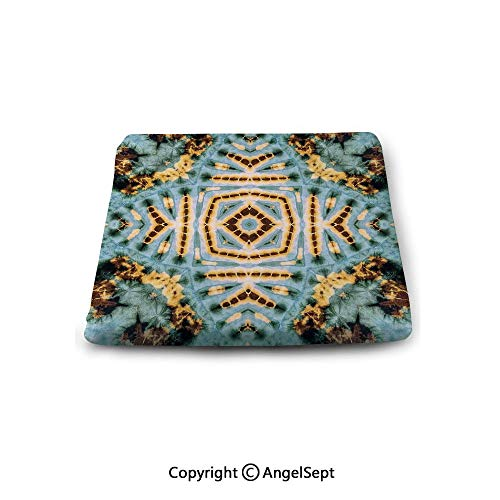 Double Sided 14' Pillow - Sweet Home Memory Chair Cushion,Tie Dye Decor,Close Hippie Motif with Maya Clan Figures Dirt Tones Counter Culture Print,Yellow Blue,Slip Non Skid Rubber Comfort pad