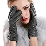 Winter Touchscreen Texting Leather Gloves Women Nappa Leather Cashmere Lining Gloves (8(US Standard Size), Style2-Grey(Touchscreen Function/Cashmere Lining))