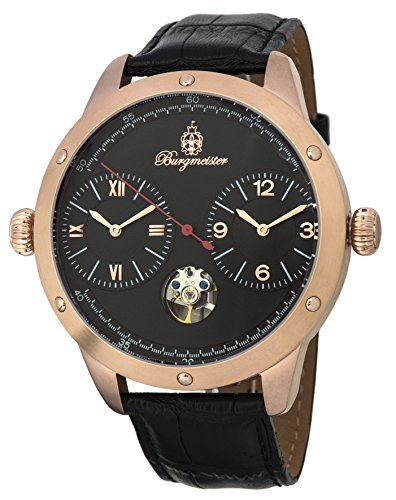 Burgmeister Men's Automatic Stainless Steel and Leather Casual Watch, Color:Black (Model: BM233-322)