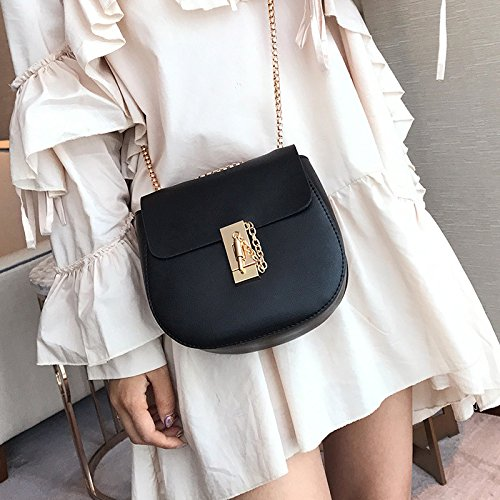 casual Hombro de cadena marea Bolso bolsa bolso nuevo de moda señoras Pink caramelo hebilla rojo bloqueo Coreano de qZxHw5