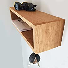 """Modern Entryway Organizer with Magnetic Key Hooks - Wall Mount, 20"""" length unfinished cherry - Model 4"""