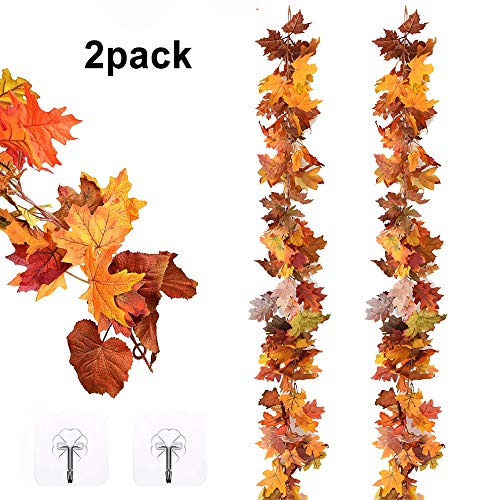 12Ft 6ft/pc Fall Garland Fall Maple Leaves Garland Artificial Fall Foliage Garland for Indoor Outdoor Wedding Thanksgiving Dinner Party Decor