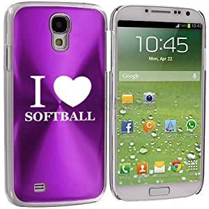 Samsung Galaxy S4 S IV Aluminum Plated Hard Back Case Cover I Love Heart Softball (Purple)