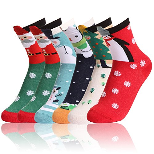 SHINE Girls Cute Cartoon Socks New Year Warm Cotton Socks Christmas Gifts 6 Pack Socks New Christmas Stocking