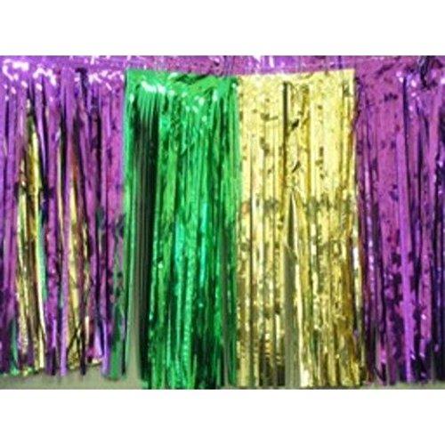 Metallic Mardi Gras Fringe Banner - Green-Gold-Purple Metallic Fringe Drape