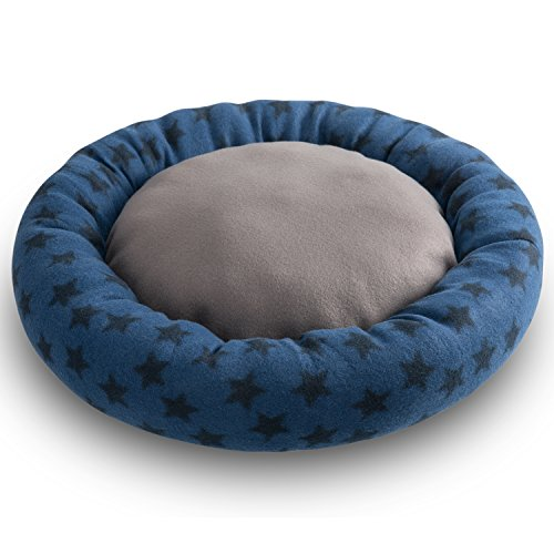 Hollypet Self-warming Soft Comfortable Round Medium Cat Bed Dog Pet Bed Mat, Blue
