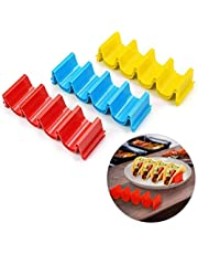 KONGDY Taco Holder 6 Pack Taco Stand Tray Taco Rack Plate Taco Holder 6 Pack Taco Stand Tray Taco Rack Plate Dishwasher Oven Safe Perfect for Party Birthday Festivals Enjoying Time (6 Pack)