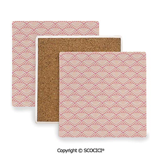 Ceramic Coasters with Cork Base, Prevent Furniture from Dirty and Scratched, Suitable for Kinds of Mugs and Cups,Light Pink,Dragon Fish Scales Japanese Style Ocean Waves,3.9