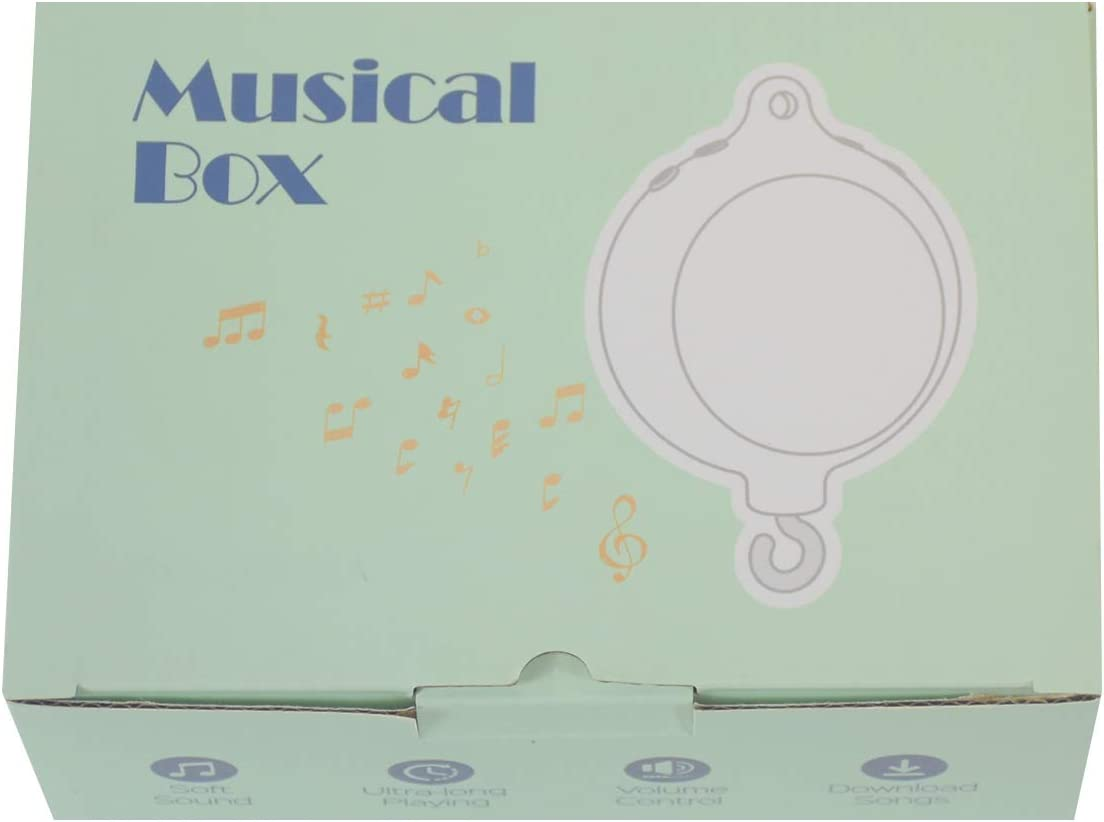 HLEEDUO Baby Crib Mobile Musical Box,Built-in Memory Card can Download Music Battery Power or Data Cable Charging