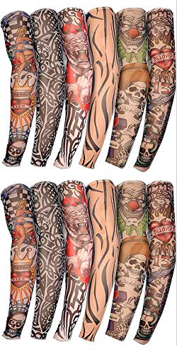 Outdoor riding 3D tattoo printing arm set sun protection bicycle basketball compression arm warm cover with sleeve style random (10pcs)
