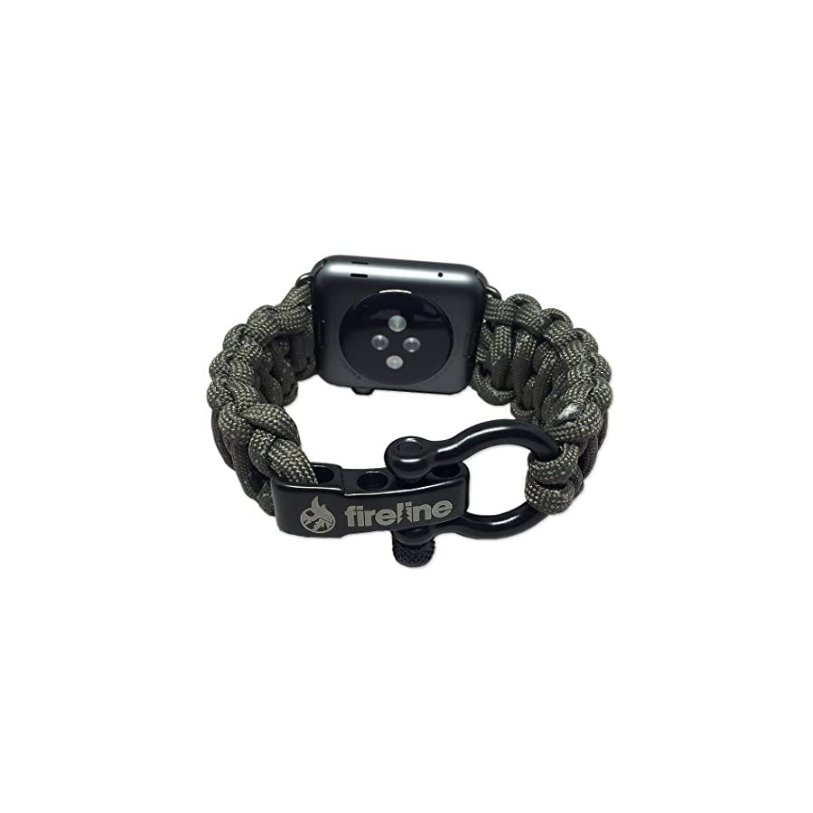 FIRELINE Paracord Watch Band for Apple Watch 42mm, Replacement Band with Rugged Outdoor Survival Stainless Steel Shackle and 550 Paracord