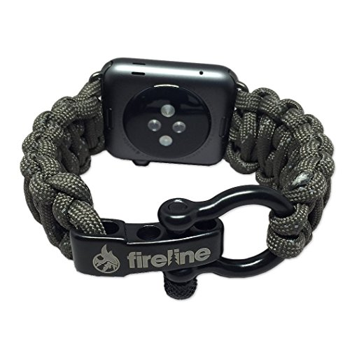 FIRELINE Apple Watch Band 42mm Replacement Paracord Watch Band with Rugged Outdoor Survival Stainless Steel Shackle and 550 Paracord