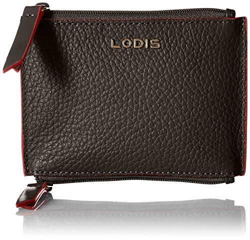 Lodis Women's Kate Frances Double Zip Pouch Key/Coin Case Purse, Black, One Size